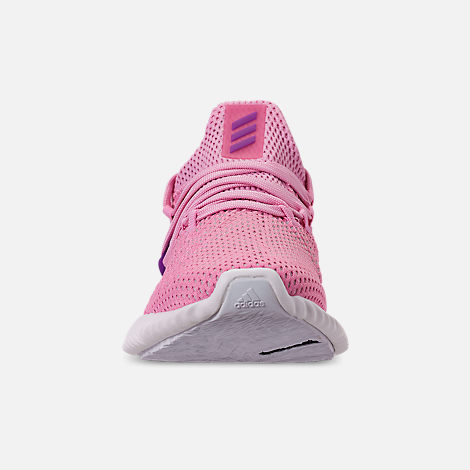 Front view of Girls' Big Kids' adidas AlphaBounce Instinct Running Shoes in True Pink/Active Purple/Cloud White
