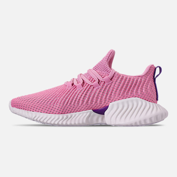 Left view of Girls' Big Kids' adidas AlphaBounce Instinct Running Shoes in True Pink/Active Purple/Cloud White