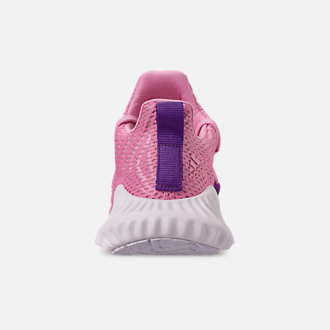 Back view of Girls' Big Kids' adidas AlphaBounce Instinct Running Shoes in True Pink/Active Purple/Cloud White