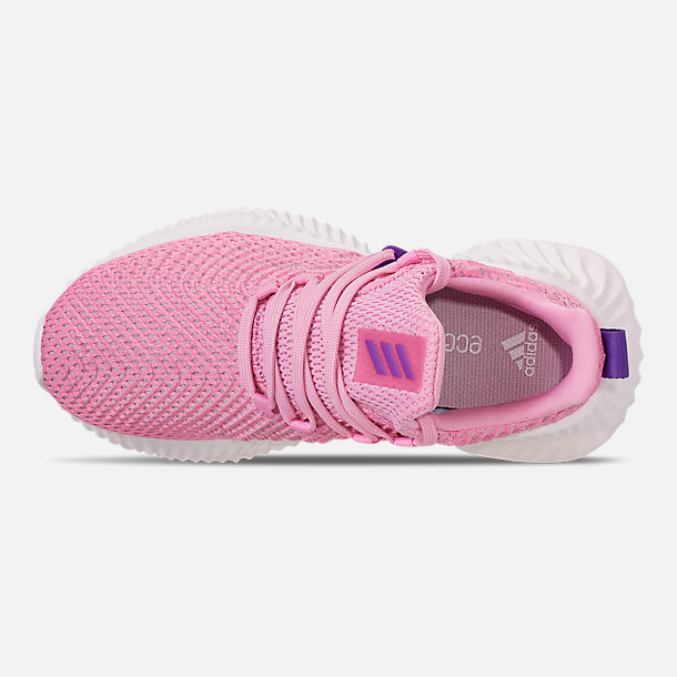 Top view of Girls' Big Kids' adidas AlphaBounce Instinct Running Shoes in True Pink/Active Purple/Cloud White