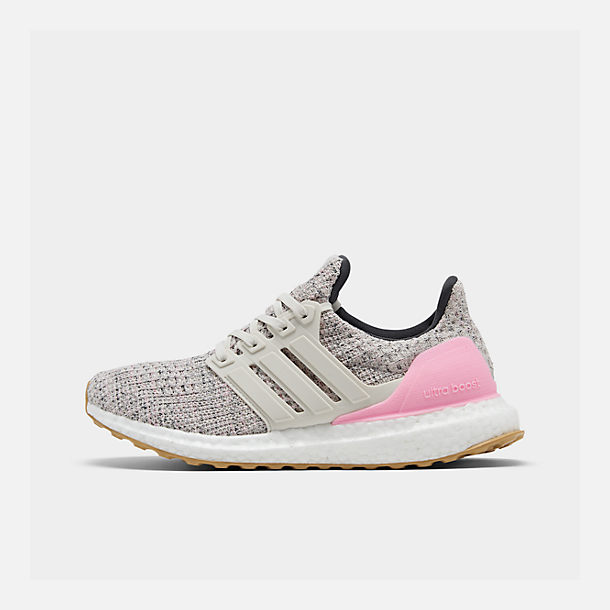 Right view of Girls' Big Kids' adidas UltraBOOST Running Shoes in True Pink/Raw White/Carbon