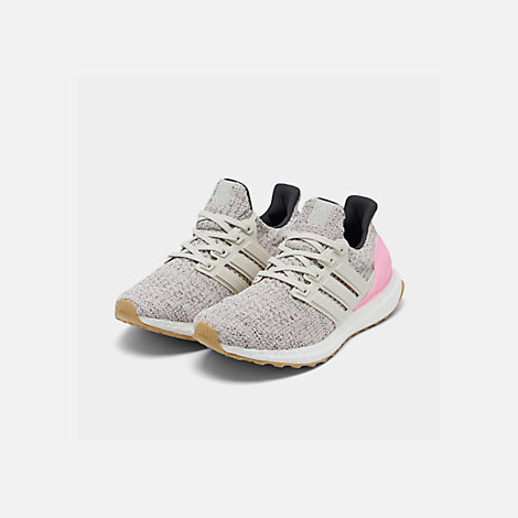Three Quarter view of Girls' Big Kids' adidas UltraBOOST Running Shoes in True Pink/Raw White/Carbon