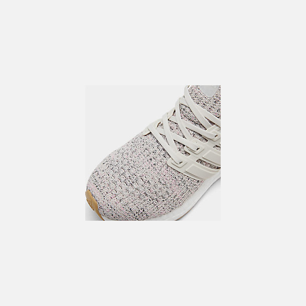 Front view of Girls' Big Kids' adidas UltraBOOST Running Shoes in True Pink/Raw White/Carbon
