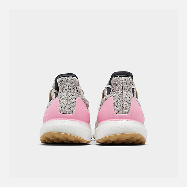 Left view of Girls' Big Kids' adidas UltraBOOST Running Shoes in True Pink/Raw White/Carbon