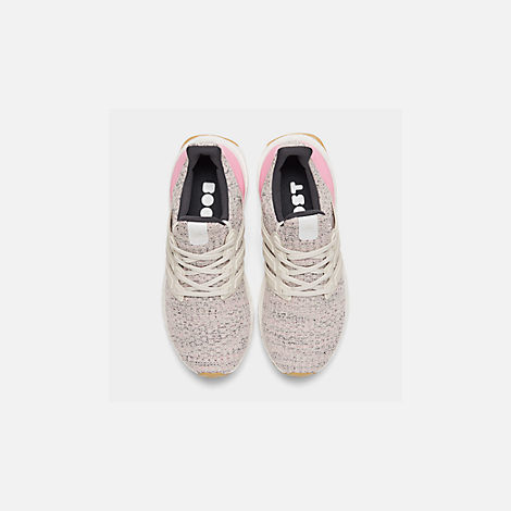 Back view of Girls' Big Kids' adidas UltraBOOST Running Shoes in True Pink/Raw White/Carbon