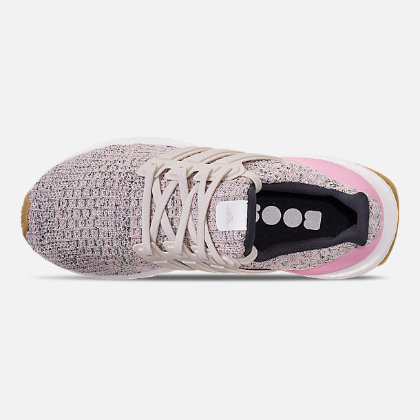 Top view of Girls' Big Kids' adidas UltraBOOST Running Shoes in True Pink/Raw White/Carbon