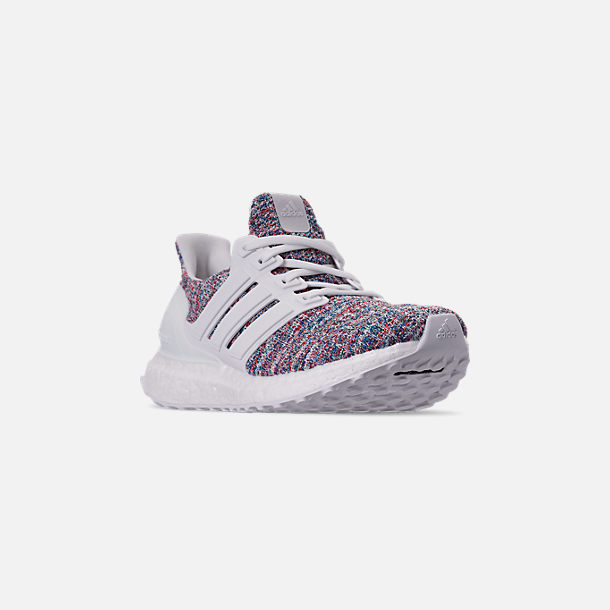 Three Quarter view of Big Kids' adidas UltraBOOST 3.0 Running Shoes in Footwear White/Blue