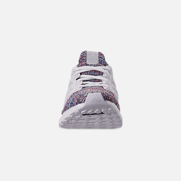 Front view of Big Kids' adidas UltraBOOST 3.0 Running Shoes in Footwear White/Blue