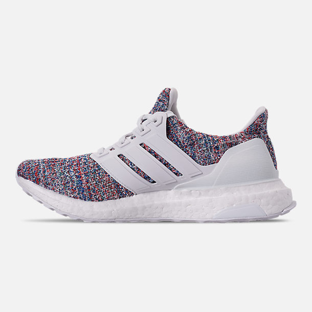 Left view of Big Kids' adidas UltraBOOST 3.0 Running Shoes in Footwear White/Blue