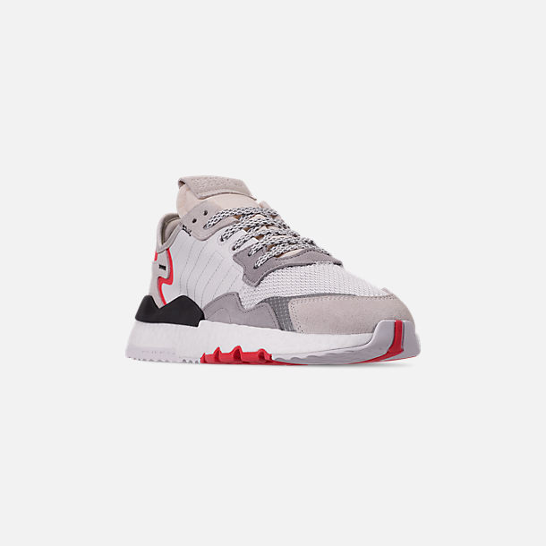 Three Quarter view of Men's adidas Originals Nite Jogger Casual Shoes in Footwear White/Crystal White/Shock Red