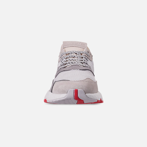 Front view of Men's adidas Originals Nite Jogger Casual Shoes in Footwear White/Crystal White/Shock Red