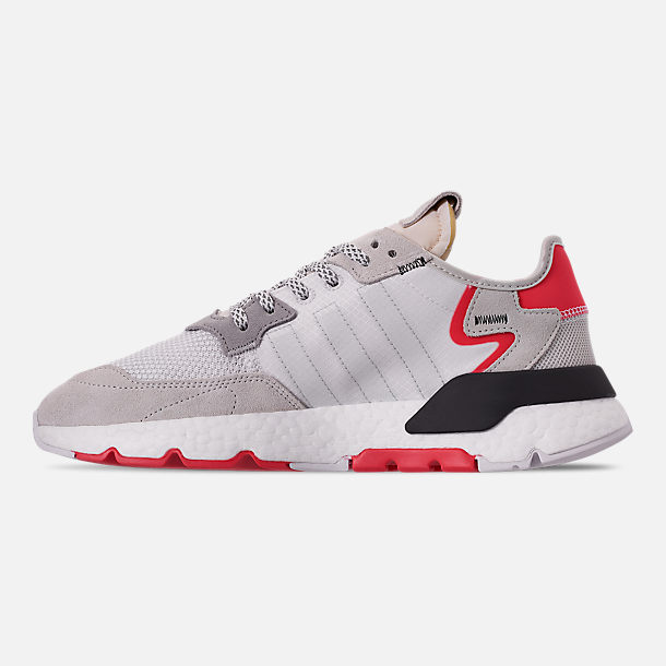 Left view of Men's adidas Originals Nite Jogger Casual Shoes in Footwear White/Crystal White/Shock Red