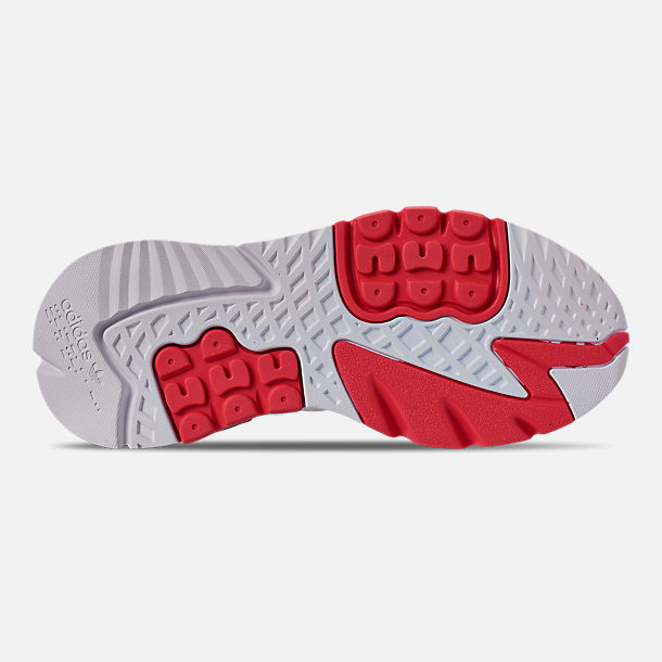 Bottom view of Men's adidas Originals Nite Jogger Casual Shoes in Footwear White/Crystal White/Shock Red