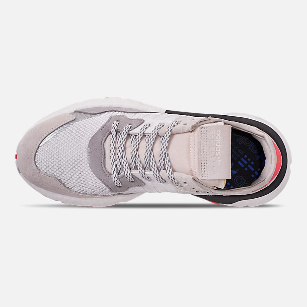 Top view of Men's adidas Originals Nite Jogger Casual Shoes in Footwear White/Crystal White/Shock Red