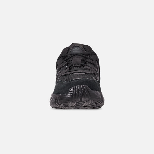 Front view of Boys' Little Kids' adidas Originals Yung-96 Basketball Shoes in Core Black/Core Black/Carbon
