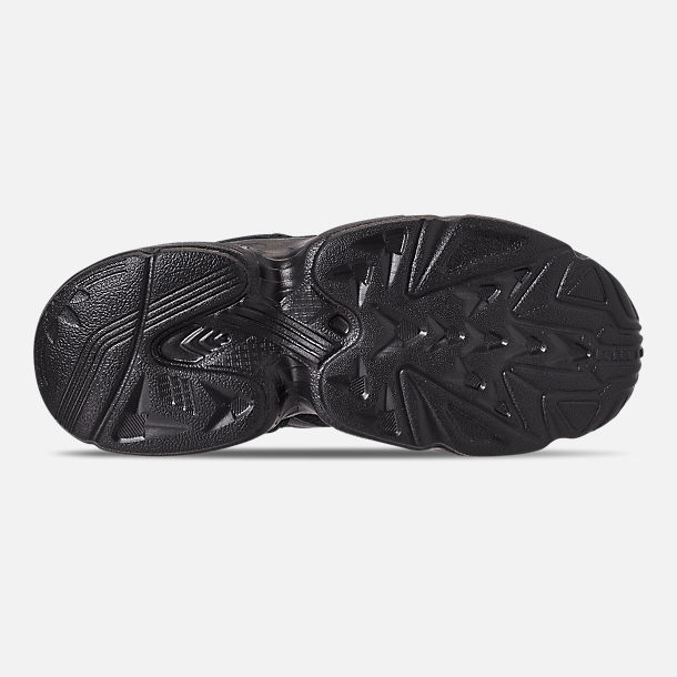 Bottom view of Boys' Little Kids' adidas Originals Yung-96 Basketball Shoes in Core Black/Core Black/Carbon