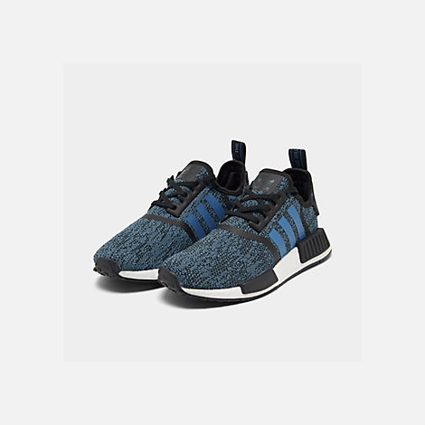 Three Quarter view of Big Kids' adidas NMD Runner Casual Shoes in Core Black/True Blue