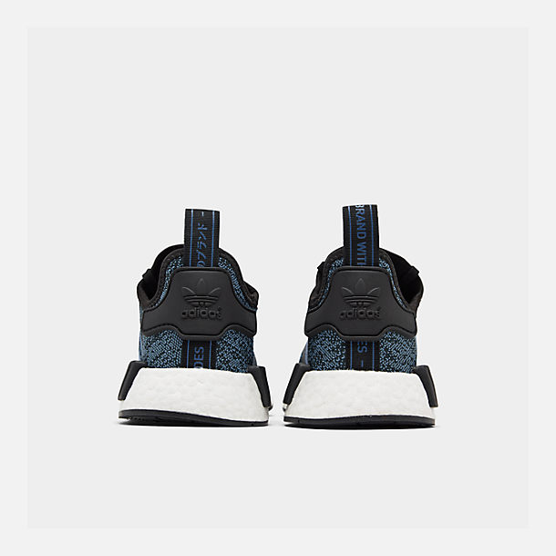Left view of Big Kids' adidas NMD Runner Casual Shoes in Core Black/True Blue