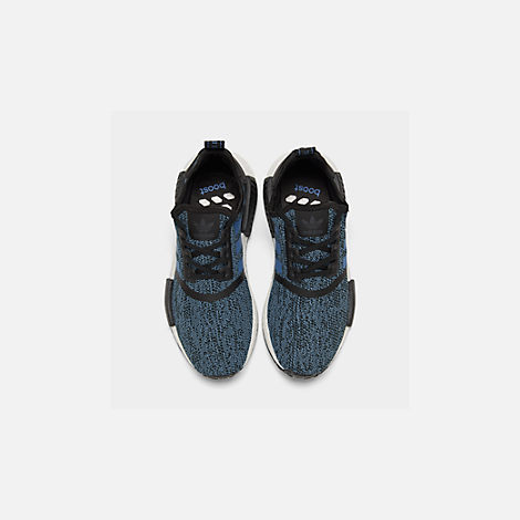 Back view of Big Kids' adidas NMD Runner Casual Shoes in Core Black/True Blue