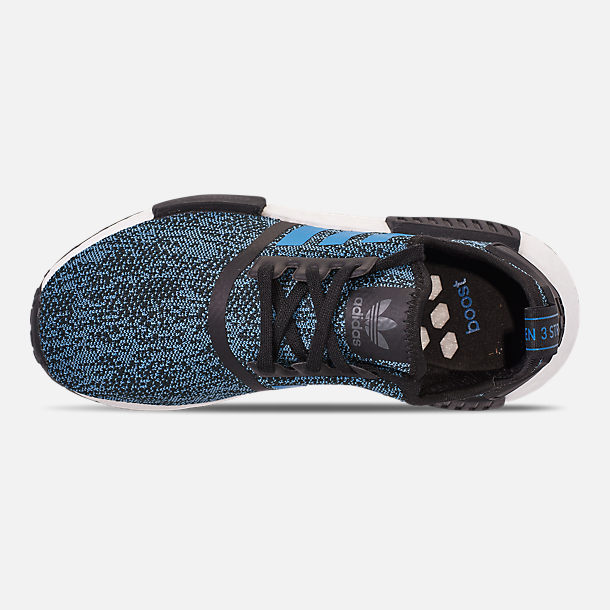 Top view of Big Kids' adidas NMD Runner Casual Shoes in Core Black/True Blue