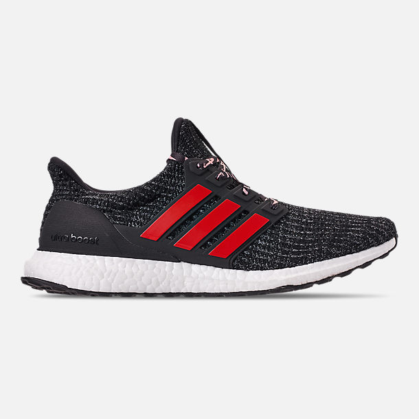 Right view of Big Kids' adidas UltraBOOST 3.0 Running Shoes in Core Black/Grey Three/Scarlet