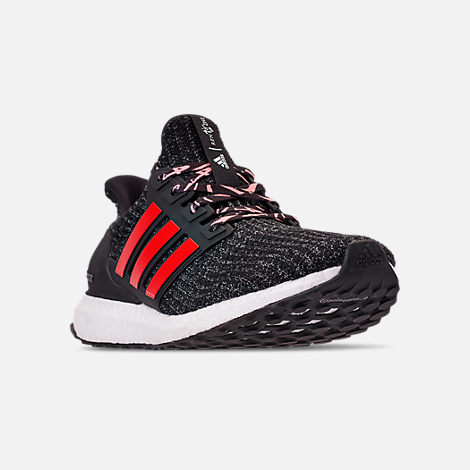 Three Quarter view of Big Kids' adidas UltraBOOST 3.0 Running Shoes in Core Black/Grey Three/Scarlet