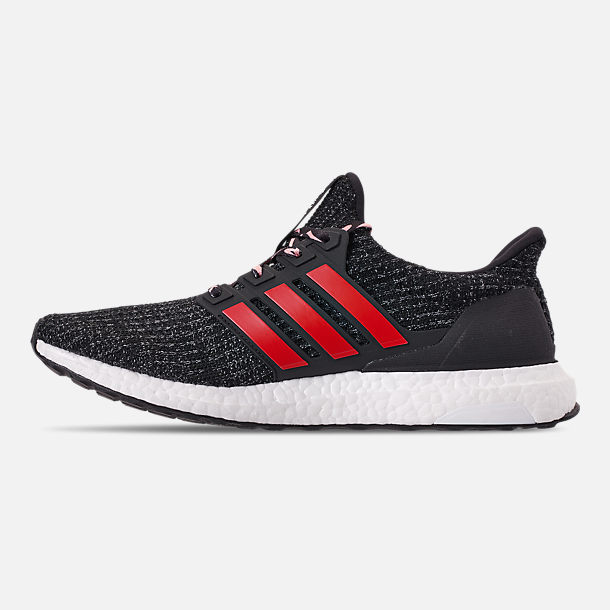 Left view of Big Kids' adidas UltraBOOST 3.0 Running Shoes in Core Black/Grey Three/Scarlet