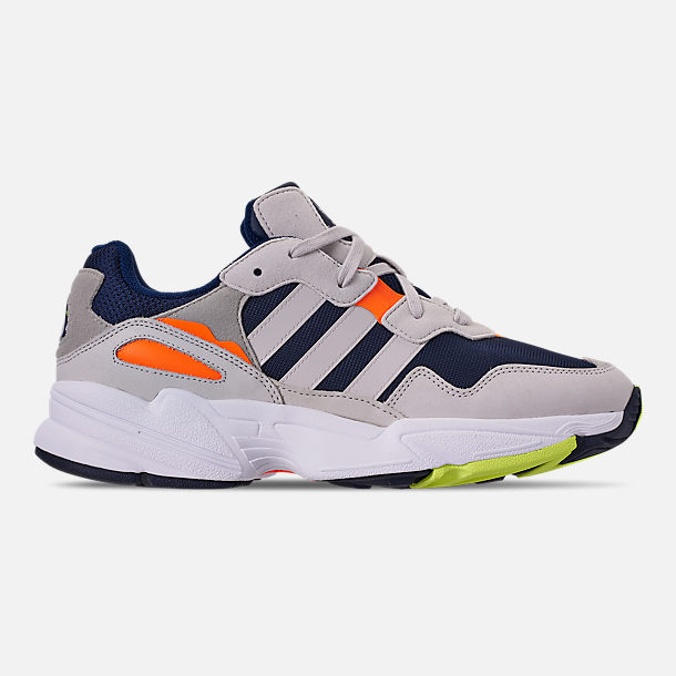 Right view of Men's adidas Originals Yung-96 Casual Shoes in Collegiate Navy/Raw White/Solar Orange