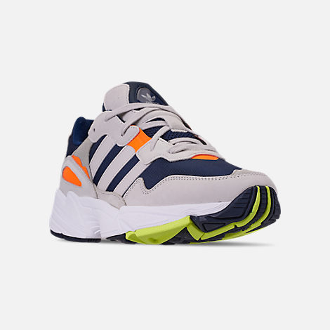 Three Quarter view of Men's adidas Originals Yung-96 Casual Shoes in Collegiate Navy/Raw White/Solar Orange