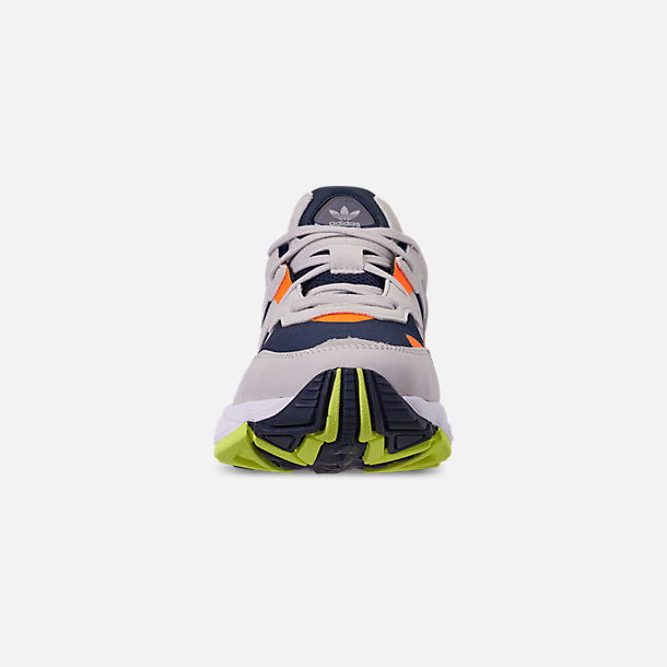 Front view of Men's adidas Originals Yung-96 Casual Shoes in Collegiate Navy/Raw White/Solar Orange