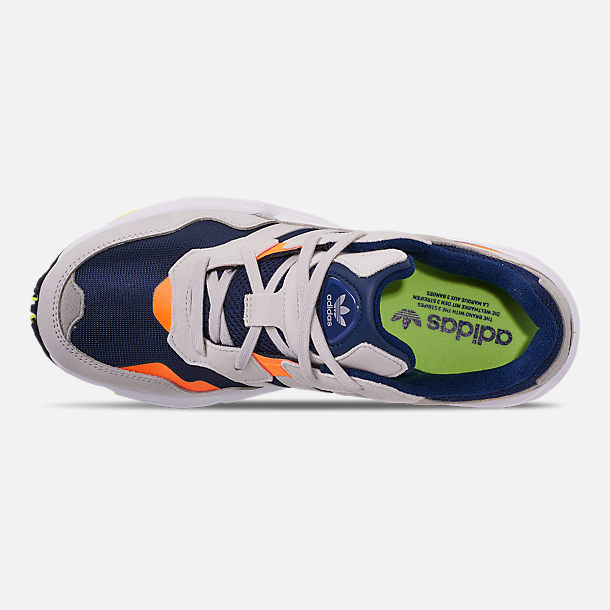 Top view of Men's adidas Originals Yung-96 Casual Shoes in Collegiate Navy/Raw White/Solar Orange