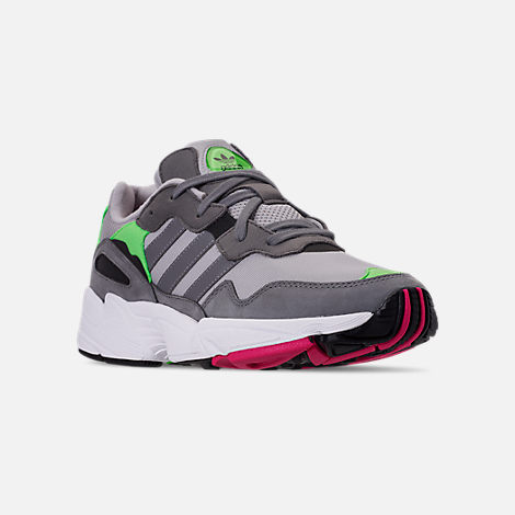 Three Quarter view of Men's adidas Originals Yung-96 Casual Shoes in Grey Two F17/Grey Three F17/Shock
