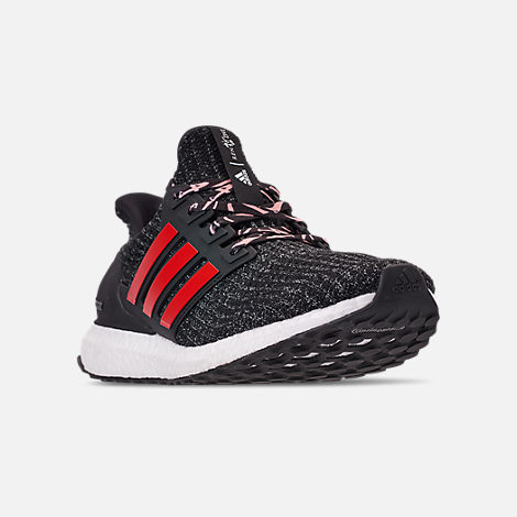Three Quarter view of Men's adidas UltraBOOST Running Shoes in Core Black/Scarlet/Grey Three