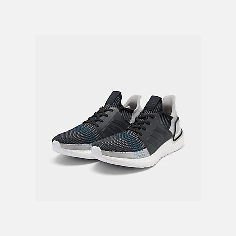 Three Quarter view of Men's adidas UltraBOOST 19 Running Shoes in Core Black/Grey Six/Shock Cyan