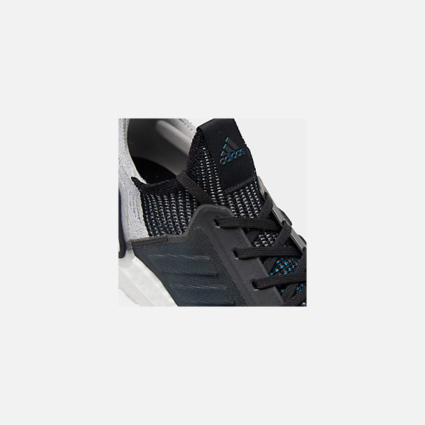 Front view of Men's adidas UltraBOOST 19 Running Shoes in Core Black/Grey Six/Shock Cyan