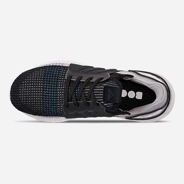 Top view of Men's adidas UltraBOOST 19 Running Shoes in Core Black/Grey Six/Shock Cyan