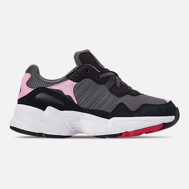 Right view of Girls' Big Kids' adidas Originals Yung-96 Casual Shoes in Grey/Pink