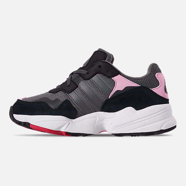 Left view of Girls' Big Kids' adidas Originals Yung-96 Casual Shoes in Grey/Pink