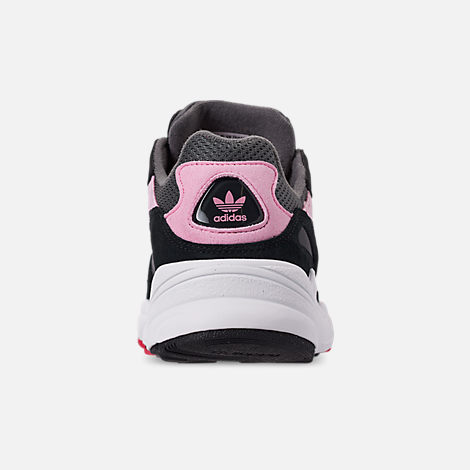 Back view of Girls' Big Kids' adidas Originals Yung-96 Casual Shoes in Grey/Pink