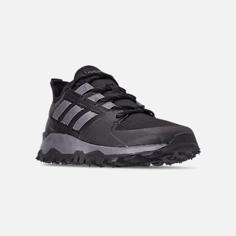 Three Quarter view of Men's adidas Kanadia Trail Running Shoes in Core Black/Grey/Grey