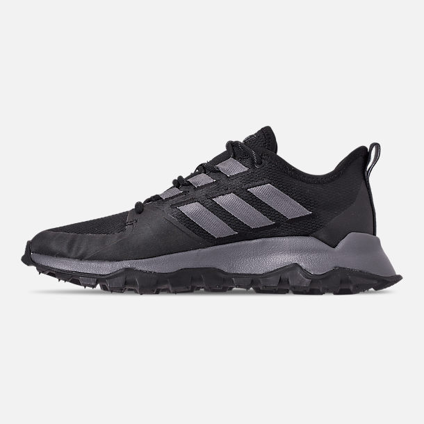 Left view of Men's adidas Kanadia Trail Running Shoes in Core Black/Grey/Grey