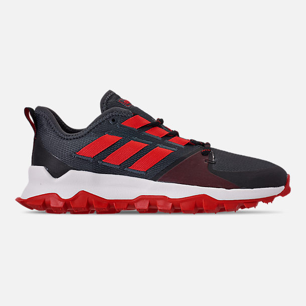 Right view of Men's adidas Kanadia Trail Running Shoes in Grey Six/Orange/Black