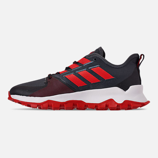 Left view of Men's adidas Kanadia Trail Running Shoes in Grey Six/Orange/Black