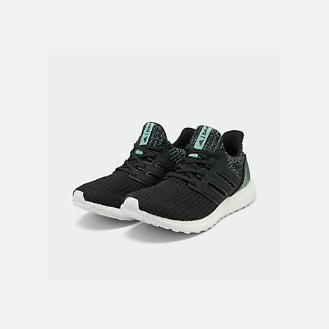 Three Quarter view of Women's adidas UltraBOOST Parley Running Shoes in Core Black/Core Black/Footwear White