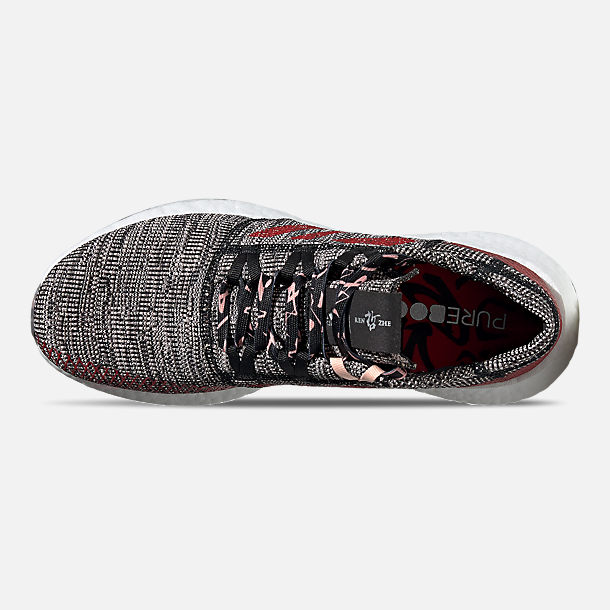Top view of Men's adidas PureBOOST GO Running Shoes in Core Black/Scarlet/Clear Orange