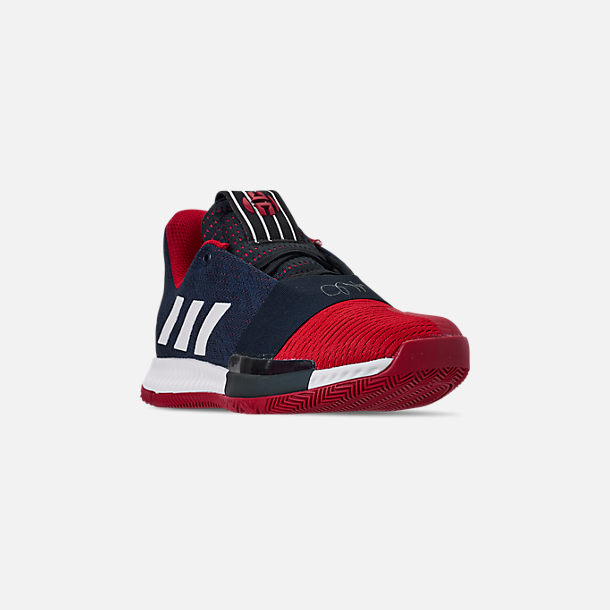 Three Quarter view of Boys' Big Kids' adidas Harden Vol.3 Basketball Shoes in Legend Ink/Active Orange/Collegiate