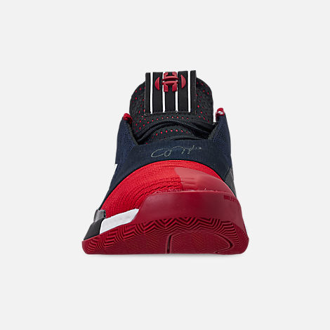 Front view of Boys' Big Kids' adidas Harden Vol.3 Basketball Shoes in Legend Ink/Active Orange/Collegiate