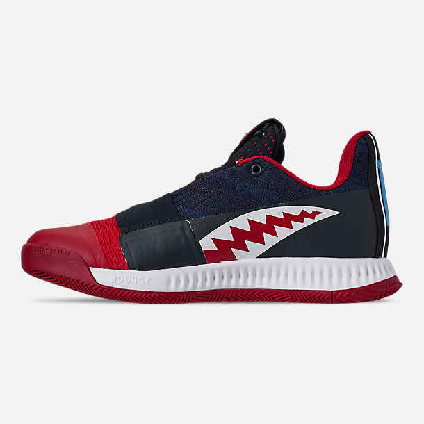 Left view of Boys' Big Kids' adidas Harden Vol.3 Basketball Shoes in Legend Ink/Active Orange/Collegiate