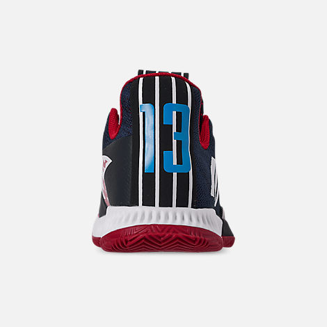Back view of Boys' Big Kids' adidas Harden Vol.3 Basketball Shoes in Legend Ink/Active Orange/Collegiate