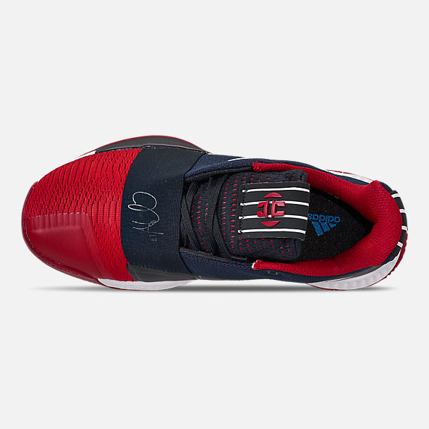 Top view of Boys' Big Kids' adidas Harden Vol.3 Basketball Shoes in Legend Ink/Active Orange/Collegiate